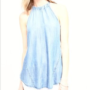 Cloth & Stone Faded Chambray halter tank top tie m